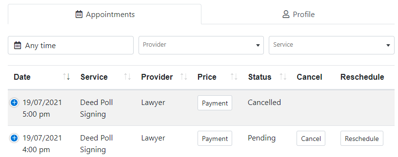 Appointment Tab